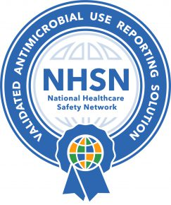 A certification badge for use by vendors that have passed Antimicrobial Use Synthetic Data Set Validation