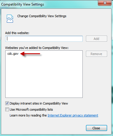 Screenshot of adding cdc.gov as trusted site for Compatibility View Settings in Internet Explorer