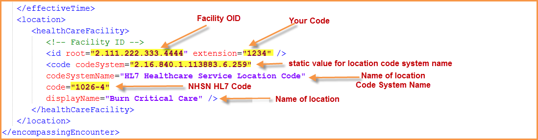 Screenshot of sample xml showing location information