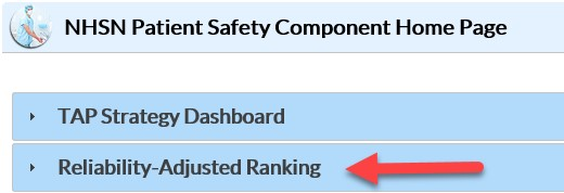 Reliability-Adjusted Ranking Dashboard tab in the NHSN Application