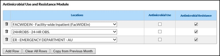The Monthly Reporting Plan screen shot is an example of the Antimicrobial Use and Resistance Module section of a Monthly Reporting Plan with the Antimicrobial Resistance boxes checked next to the following locations: facility-wide inpatient, 24-hour observation area, and Emergency Department.