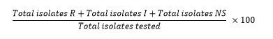 (Total isolates R+Total isolates I+Total isolates NS)/Total isolates tested  ×100