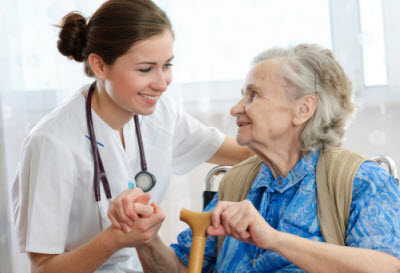 Nurse and patient in a long-term care setting