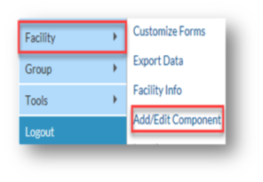 NHSN Application Facility tab. Add and edit component navigation tab