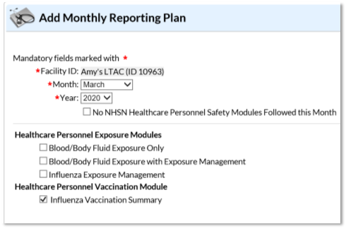 NHSN Application Add Monthly Reporting Plan page with Influenza Vaccination Summary checked