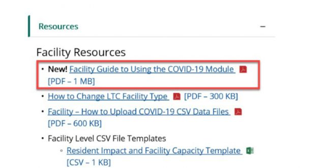 COVID-19 LTCF Module website. Facility Resources, Facility Guide location