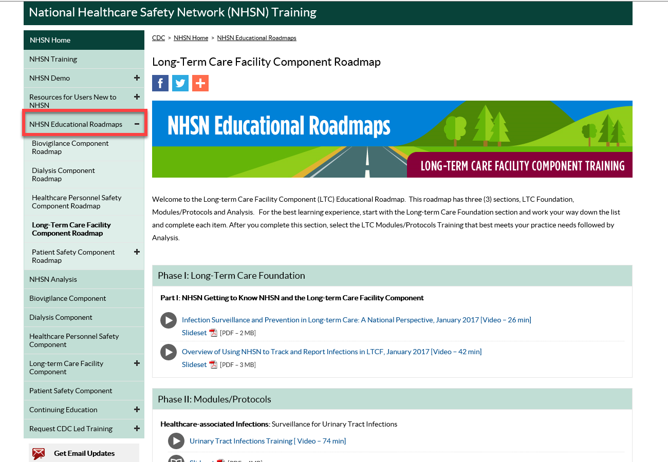 nhsn ltcf educational roadmap home page