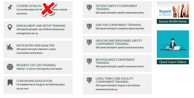 NHSN training webpage showing removal of Course Catalog