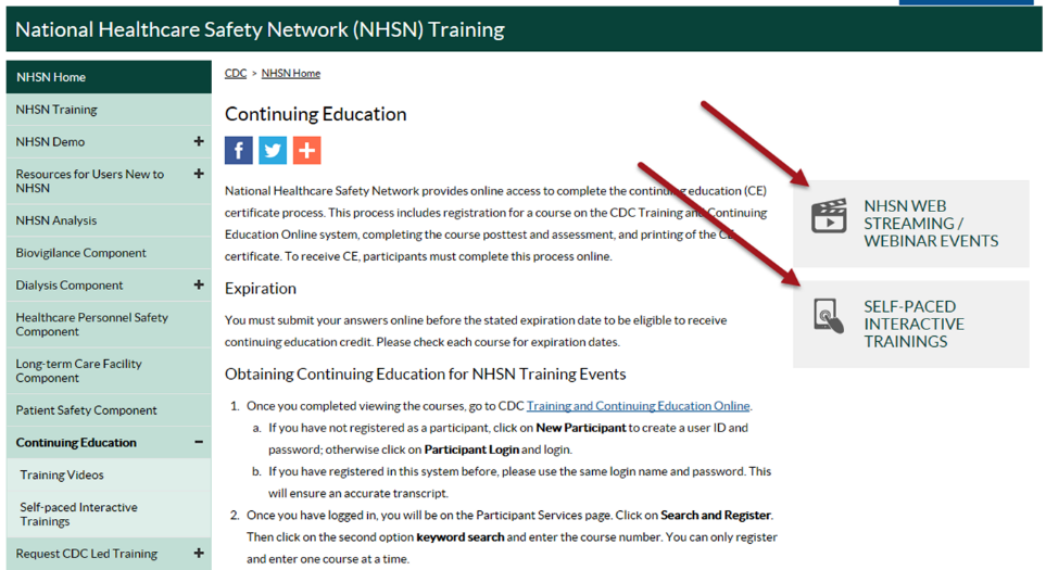 NHSN continuing education webpage showing links to CE and all training activities