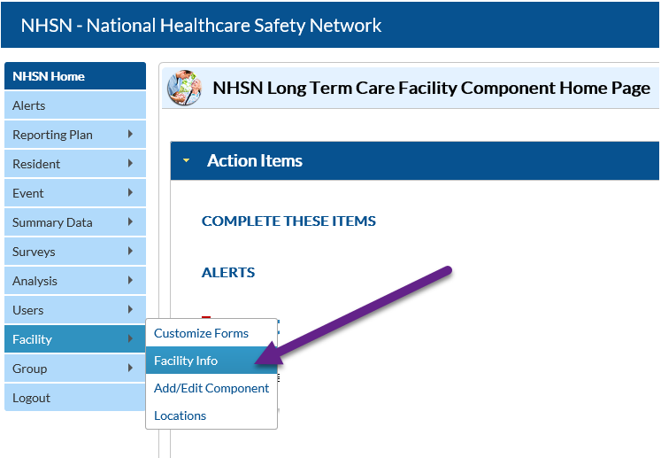 NHSN application homepage with facility info highlighted