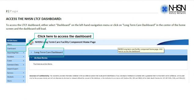 nhsn ltc dashboard guidance how to access the dashboard instructions