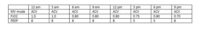 Table lists mechanical ventilator data from a single day, May 10; from 12am to 9pm.