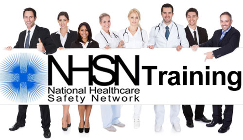 Healthcare workers holding a sign: NHSN Training