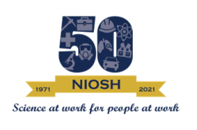 NIOSH, 50 years, 1971, 2021. Science at work for people at work.