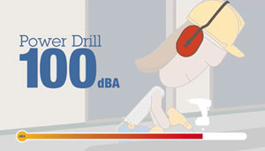 Power Drill 100 dBA graphic of worker using power drill and wearing hearing protection