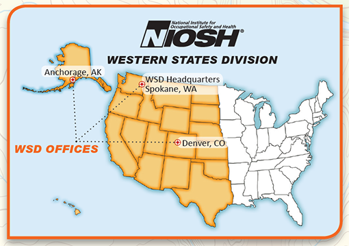 Graphic illustration showing the United States and areas NIOSH's Western States Division covers (including Alaska and Hawaii.)