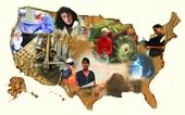 photos of workers inside USA map