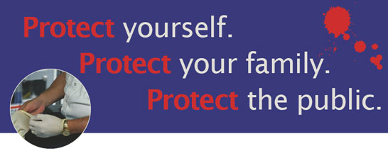 Person putting on protective gloves. Protect yourself. Protect your family. Protect the public.