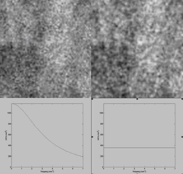 Figure 4, Correlated NPS (a) and uncorrelated NPS (b) reflecting the noise texture properties of a magnified image.