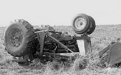 overturned tractor