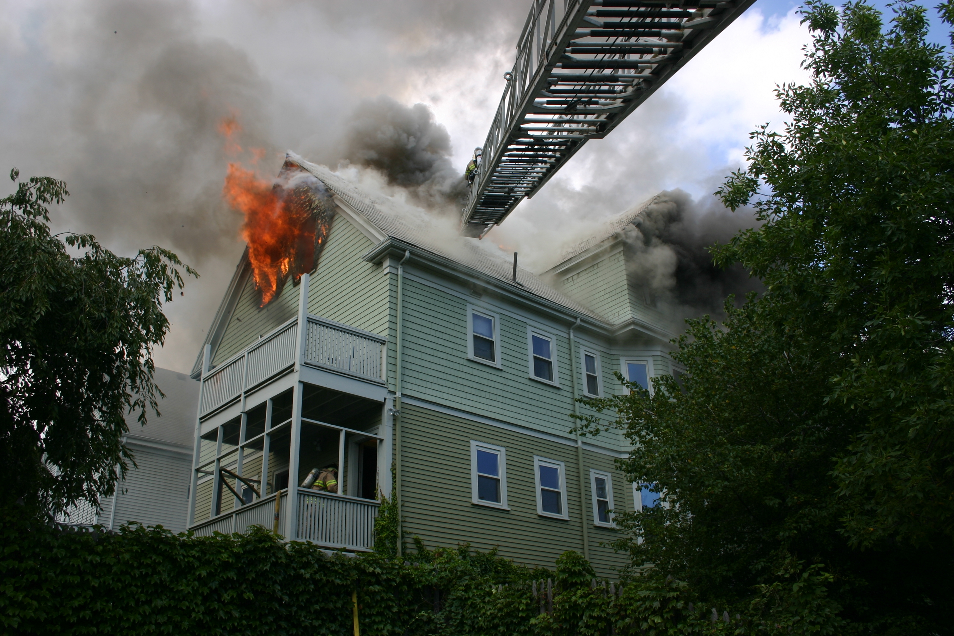 A Massachusetts house fire resulting from the use of highly flammable floor finishing products. Photo by Dean Razzaboni.