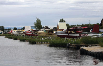 Floatplanes in their slips at Lake Hood, Anchorage, Alaska. Photo courtesy of NIOSH.