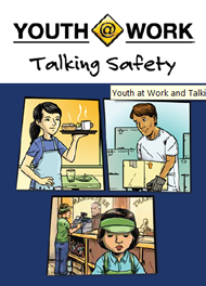 Youth@Work Talking Safety - illustrations of youth in workplace settings.