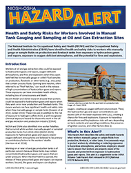 Cover of NIOSH/OSHA Hazard Alert - Health and Safety Risks for Workers Involved in Manual Tank Gauging and Sampling at Oil and Gas Extraction Sites [PDF - 1 MB]