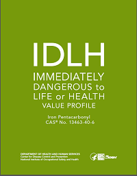 Cover shot of Immediately Dangerous to Life or Health Value Profile publication for Iron Pentacarbonyl