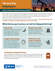 First page of Oil and Gas Employers: How to Prevent Fatigued Driving at Work