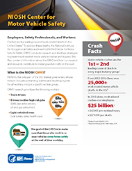 First page of the NIOSH Center for Motor Vehicle Flyer - document number 2018-177