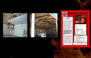 Image on left shows the installation of a pan ceiling, the image in the center shows a commercial building without a pan ceiling, and on the far right is a poster produced by Chief Billy Goldfeder based on a fire fighter investigation report