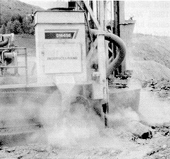 Figure 2. Typical dusty atmosphere created by rock drilling operations