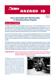 cover page - Hazard ID 8 - Injury Associated with Working Near or Operating Wood Chippers