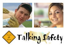 Image of a young man and a young woman text youth at work talking safety