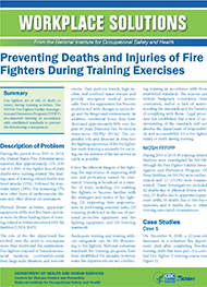 Cover of Workplace Solutions: Preventing Deaths and Injuries of Fire Fighters During Training Exercises
