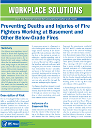 Cover of Wordplace Solutions: Preventing Deaths and Injuries of Fire Fighters Working at Basement and Other Below-Grade Fires
