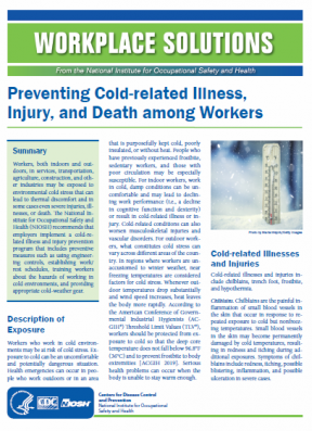 Preventing Cold-related Illness, Injury, and Death among Workers