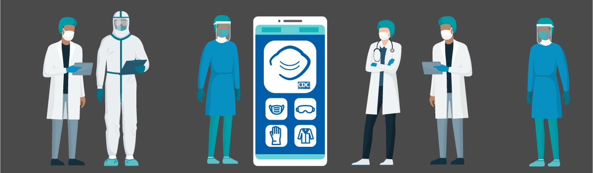 Health professions standing and looking at a mobile phone