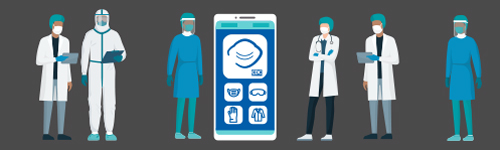 illustration of health professionals standing by a smart phone