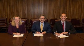 (left to right) OSHA Deputy Assistant Secretary Ms. Loren Sweatt, RIA President Mr. Jeffrey Burnstein, and NIOSH Director Dr. John Howard at the Alliance signing.