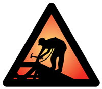 Campaign logo for the safety pays, falls costs campaign. Shows silhouette of construction worker in side a orange triangle sign