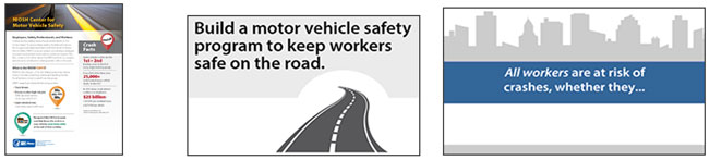 Cover page of fact sheet; animated image - Build a motor vehicle safety program to keep workers safe on the road; Driver gif - All workers are at risk of crashed, whether they...