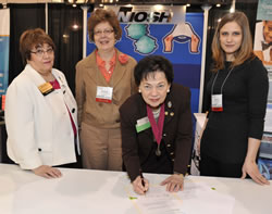 Charlotte Guglielmi, 2010–2011 AORN president; Debra Novak, NIOSH; Linda Groah, AORN Executive Director/CEO;  Jackie Krah, NIOSH at the MOU signing.