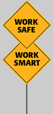 A logo for Work Safe Work Smart made to look like a yellow traffic sign.