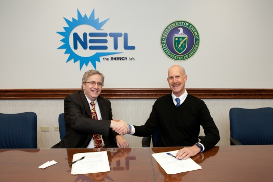 NETL Director Dr. Anthony Cugini and NIOSH Director Dr. John Howard sign the agreement in April