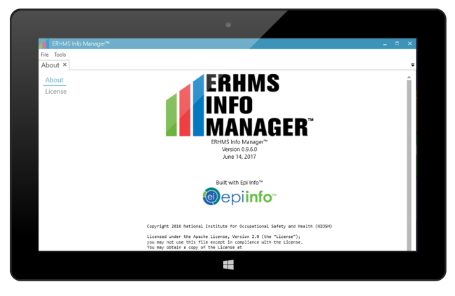 ERHMS Info Manager shown on a screen