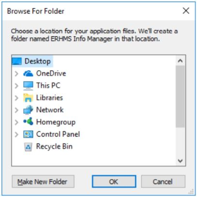 Install manager prompt asking the user to specify the location for installation