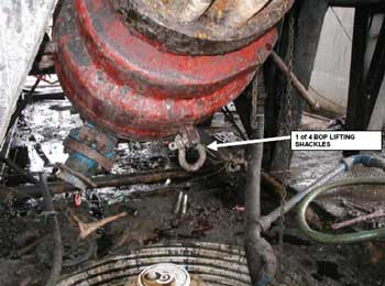 Figure 4. Lifting shackle of blowout preventer (BOP).