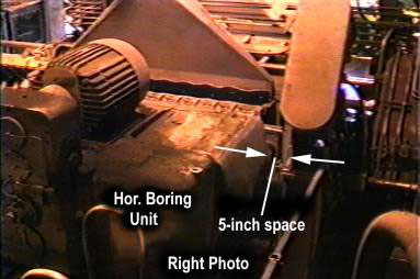 Horizontal boring machine in right position